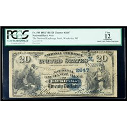 1882 Value Back, $20 National Bank Note. The National Exchange Bank, Waukesha, W