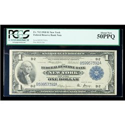 1918, $1 Federal Reserve Bank Note. PCGS About New 50PPQ