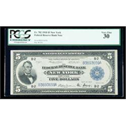 1918, $5 Federal Reserve Bank Note. PCGS Very Fine 30