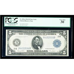 1914, $5 Federal Reserve Note. PCGS Very Fine 30