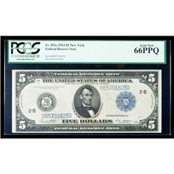 1914, $5 Federal Reserve Note. PCGS Gem New 66PPQ