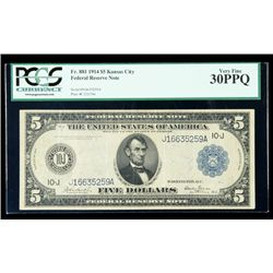 1914, $5 Federal Reserve Note. PCGS Very Fine 30PPQ