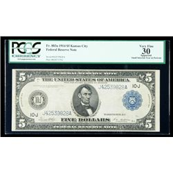 1914, $5 Federal Reserve Note. PCGS Very Fine 30 Apparent