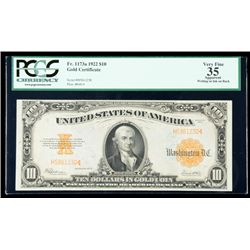 1922, $10 Gold Certificate. PCGS Very Fine 35 Apparent