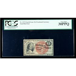 1869, 15c Fractional Currency. Fourth Issue, smaller red seal. PCGS Very Fine 30