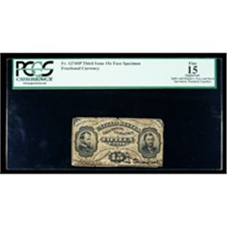 1864, 15c Fractional Currency. Third Issue, Grant & Sherman. PCGS Fine 15 Appare