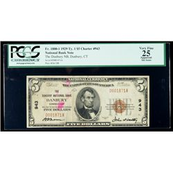 1929, $5 National Bank Note. The Danbury NB, Danbury, CT. Ch. #943. PCGS Very Fi