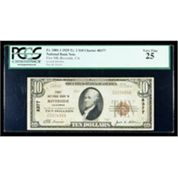 1929, $10 National Bank Note. First NB, Riverside, CA. Ch# 8377. PCGS Very Fine