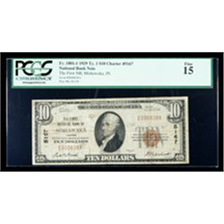 1929, $10 National Bank Note. The First NB, Mishawaka, IN. Ch.# 5167. PCGS Fine
