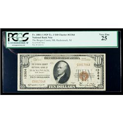 1929, $10 National Bank Note. The Bergen County NB, Hackensack, NJ. Ch. #13364.