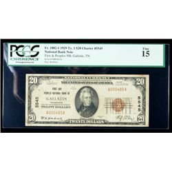 1929, $20 National Bank Note. First and Peoples NB, Gallatin, TN. Ch. #5545. PCG