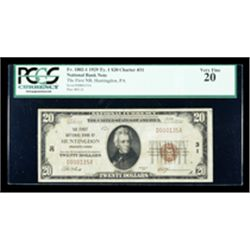 1929, $20 National Bank Note. The First NB, Huntington, PA. Ch# 31. PCGS Very Fi