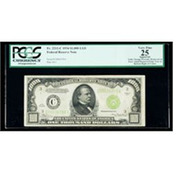 1934, $1000 LGS Federal Reserve Note. PCGS Very Fine 25 Apparent