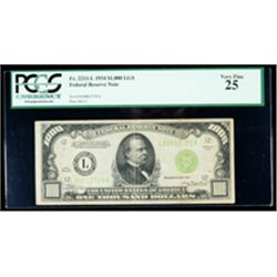 1934, $1000 LGS Federal Reserve Note. PCGS Very Fine 25