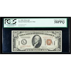 1934-A, $10 World War II Emergency Note. Hawaii. PCGS Choice About New 58PPQ