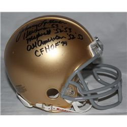 Johnny Lattner Signed Notre Dame Mini-Helmet: Multiple Inscriptions (JSA COA)