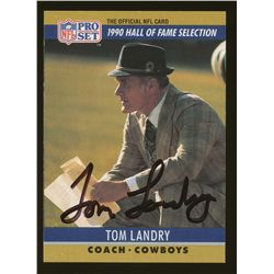 Tom Landry Signed Cowboys Football Card (JSA COA)