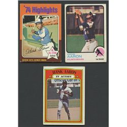 Lot of (5) Vintage Hank Aaron Baseball Cards with 1972 Topps, 1973 Topps & 1975 Topps