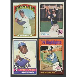 Lot of (4) Vintage Hank Aaron Baseball Cards with 1972 Topps, 1973 Topps, 1975 Topps & 1976 Topps
