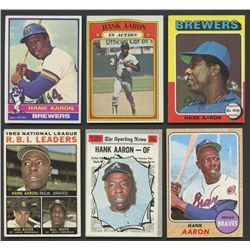 Lot of (6) Vintage Hank Aaron Baseball Cards with 1964, 1968, 1970, 1972, 1975 & 1976 Topps