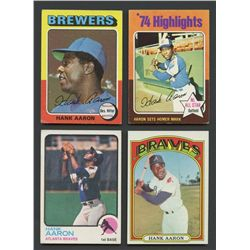 Lot of (4) Vintage Hank Aaron Baseball Cards with 1972, 1973 & (2) 1975 Topps