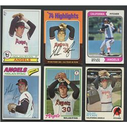 Lot of (6) Vintage Nolan Ryan Baseball Cards with 1973, 1974, 1975, 1977, 1978 & 1979 Topps