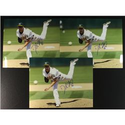 Lot of (3) Dallas Braden Signed Athletics 11x14 Photos (PA LOA)