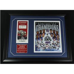 2011-12 Giants Super Bowl 16x20 Custom Framed Display With NFC Championship Ticket
