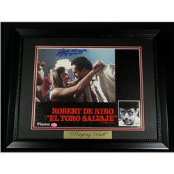 "Jake LaMotta Signed 16x20 Custom Framed Photo Display: Inscribed ""Raging Bull"" (SOP COA)"