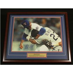 "Nolan Ryan Signed Rangers 22x26 Custom Framed Piece: ""Fight With Ventura"" (Ryan Hologram)"