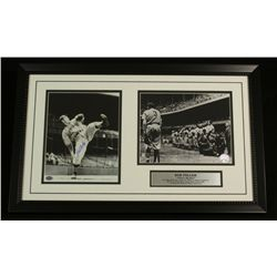 Bob Feller Signed Indians 16x26 Custom Framed Piece (SOP COA)