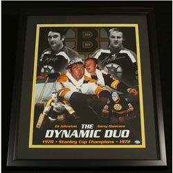 Ed Johnston & Gerry Cheevers Signed Bruins 22x26 Custom Framed Piece (SOP COA)