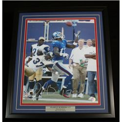 Plaxico Burress Signed Giants 22x26 Custom Framed Piece (Burress Hologram)