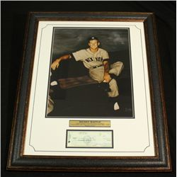 Mickey Mantle Yankees 26x32 Custom Framed Display With Signed Check Copy