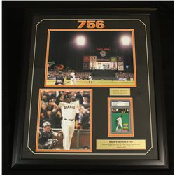 "Barry Bonds Signed Giants 22x26 Custom Framed Display: ""756th Home Run"" (PSA)"