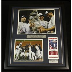 2009 Yankees 22x26 Custom Framed Display With Unused World Series Game 1 Ticket