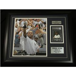 "Derek Jeter Yankees 18x22 Custom Framed Display With Game-Used Jersey Card: ""3,000th Hit"""
