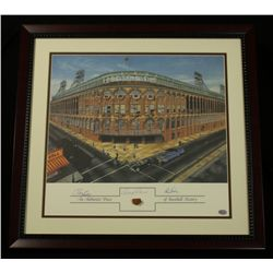 Ebbets Field Dodgers 20x21 Custom Framed Display Signed by (3) With Piece of Brick (SOP LOA)