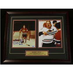 Bobby Hull Signed Blackhawks 18x22 Custom Framed Display (SOP COA)