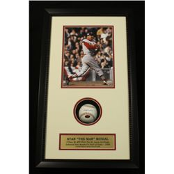 Stan Musial Signed OML Baseball: 14x24 Shadow Box (Musial COA)