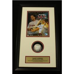 "Manny Ramirez Signed OML Baseball: 14x24 Shadow Box Inscribed ""04 WS MVP"" (SOP COA)"