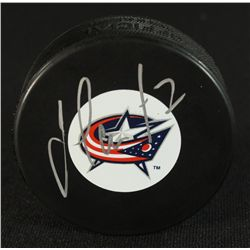 Jeff Carter Signed Blue Jackets Logo Hockey Puck (JSA COA)