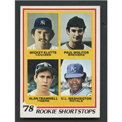 1978 Topps #707 Rookie Shortstops Paul Molitor RC, Washington, Trammell, Klutts