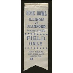 "1952 Rose Bowl Illinois vs. Stanford College Football ""Field Only"" Ticket Ribbon"