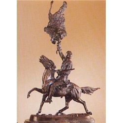 Buffalo Signal Bronze Sculpture by Frederic Remington.