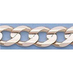 """Pure Gold 16"""" 14k Gold-Yellow 7.4mm Curb Chain"""