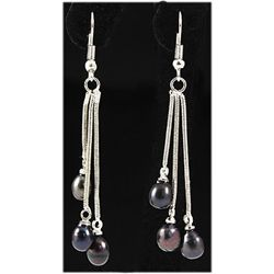 Natural 4.45g Freshwater Dangling Silver Earring