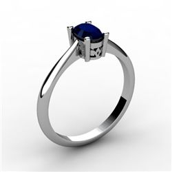 Sapphire 0.60 ctw Ring 14kt White Gold