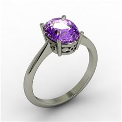 Amethyst 1.75 ctw Ring 14kt White Gold