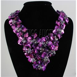 1308CTW 16  BAHAMA PURPLE MOTHER OF PEARL NECKLACE META
